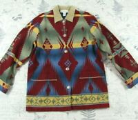 EUC Vintage Jones NY Navajo Southwestern Aztec Print Coat Jacket Women's Large L