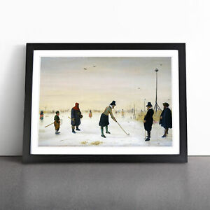 Playing Golf On The Ice By Hendrick Avercamp Wall Art Framed Print Picture