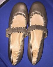 Nurture Seymour Bronze Leather Mary Janes Flats Stretch Band Shoes Size 10M