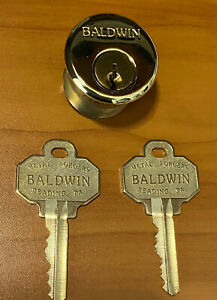 """Baldwin 8322-030 Mortise Lock Cylinder 1-1/8"""" Lacquered Brass Finish w/2 Key"""