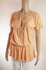 APART Designer T-Shirttunika apricot 32/34 XS V-Ausschnitt rosa Spitze Country