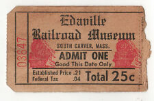 VINTAGE EDAVILLE RAILROAD MUSEUM Ticket PASS South Carver Massachusetts TRAIN RR