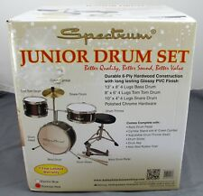 Spectrum Junior Drum Set 4 Lugs Bass Tom Tom Snare Chrome Hardware Sticks & Key