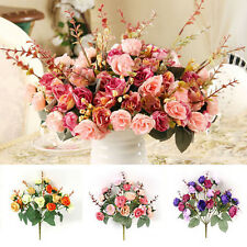 21 Heads Artificial Silk Vintage Rose Flowers Fake Leaf Bouquet Home Party Decor
