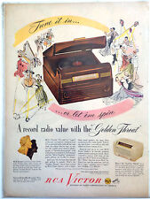 VINTAGE ORIGINAL 1948 RCA VICTOR RADIO - PHONOGRAPH ~ FULL PAGE COLOR PRINT AD