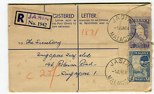 FEDERATION OF MALAYA - Registered Letter 1942, Malacca Jasin to Singapore 1964