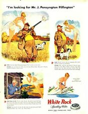 1947 White Rock PRINT AD Water 'Psyche' Fairy Hunting Birds over Dogs