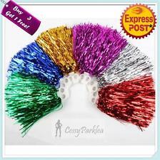 Adult Cheerleader Pom Pom Metallic Red Navy Blue Hot Pink Green Gold Silver 100g