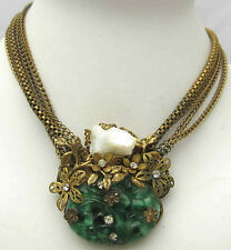 "Vintage 14"" Necklace w/ Green Stones Mother Of Pearl Rhinestones Nice Brass Tone"