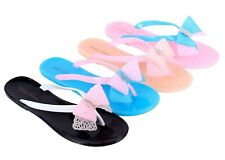 Jelly Colorful Casual Rhinestone Flip Flops Bowknot Womens Beach Sandals Shoes