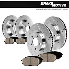 Front And Rear Drill Slot Brake Rotors + Ceramic Pads For 2006 2007 Impreza WRX