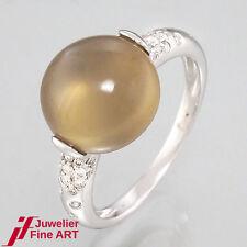 RING Mondstein 6,05 ct + Brillanten 0,21 ct TW/SI - 18K Weißgold - UVP: 1.450,-