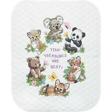 "Dimensions 73064 Baby Hugs Baby Animals Quilt Stamped Cross Stitch Kit-34""X43"""