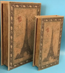 """Set Of 2 Faux Books Boxes Hidden Jewelry Storage Eiffel Tower Paris - 11"""" And 9"""""""