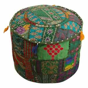 Pouf Cover Indian Cotton Handmade Vintage Ottoman Patchwork Round Foot Stool