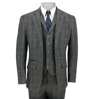 New Cavani Mens 3 Piece Tweed Suit Vintage Herringbone Grey Check Retro Slim Fit