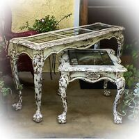 Large, Antique, Entryway Table, Distressed White, Shabby Chic, Sofa Table, Foyer