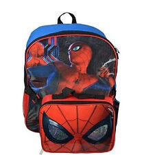 "Marvel Spiderman Children 16"" Backpack Large With Insulated Lunch bag"