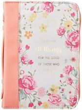 Bible Cover NEW Peach He Works All Things Romans 8:28 Large 9 5/8x 6 7/8x 1 3/4