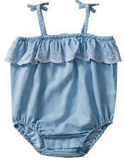 Target 0 -3 Months Gorgeous Blue Chambray Denim look Broderie Romper One Piece