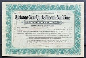 """CHICAGO-NEW YORK ELECTRIC AIR LINE RR Stock 1907 """"Chicago-NYC, 10 Hours for $10"""""""