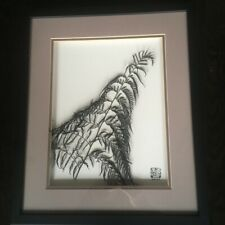 Japanese Fern live Dried Botanical Art framed with Tosa Mitsuoki seal