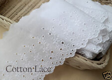 """14Yds Broderie Anglaise cotton eyelet lace trim 5.1""""(13cm) White YH1037 laceking"""