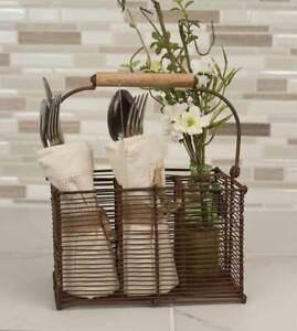 Divided Cutlery Caddy basket metal Storage Bin Farm Kitchen Decor