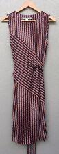 DIANE VON FURSTENBERG Stretch Sleeveless SILK Dress With Tie Waistband. Sz 10
