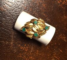 Boxed Vintage Cartier Solid Gold Round Cut Emerald Ring Leaf Fruit Cocktail Art