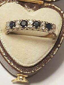 9ct gold sapphire and diamond channel set Eternity ring mand half xmas gift