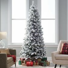 Finley Home 6.5' Pre-lit Clear Classic Flocked Slim Artificial Christmas Tree