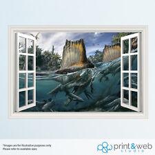 Dinosaurs Under Water 3D Window View Decal Wall Sticker Home Decor Art Mural