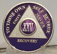 Purple & Silver Plated 25 Year AA Chip Alcoholics Anonymous Medallion Coin Token