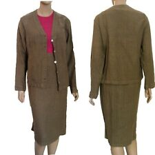 New $160 VIA VAI by Pollero Loosy Goosy Soft & Naturall 100% LINEN SKIRT SUIT M