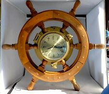 Vintage Ships Wheel Clock Brass Wood Nautical Boat Clock Time 18 Inches Dia.