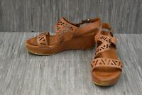 Sesto Meucci Bard Laser Cut Leather Wedge Sandals, Women's Size 10M, Camel
