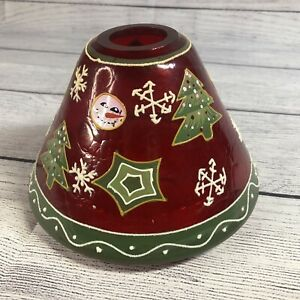 Christmas Crackle Glass Candle Shade Red Tree Snowman Painted Yankee?