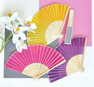 100 Colored Silk Fans BEACH Summer Wedding Favor Red White Black Pink and More