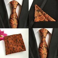 Men Black Orange Paisley Flower Necktie Pocket Square Handkerchief Set Lot HZ063