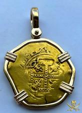 1715 FLEET * JEWELED CROSS * 8 ESCUDOS MEXICO 1679-94 PENDANT PIRATE GOLD COINS