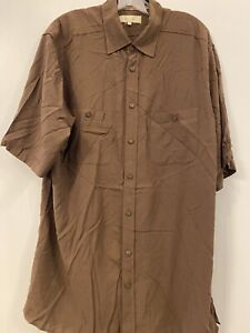 Territory Ahead Mens Pocketed Brown Button Down Short Sleeve New LT