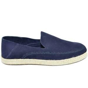 Espadrillas uomo scarpe da barca blu in vera pelle scamosciata e fondo in spago