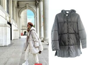 Primark Cream Black Padded Puffer Coat Jacket Oversized Recycled Material Hooded