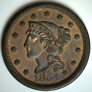 1854 US Large Cent Copper Braided Hair 1c Coin Uncirculated One Cent Penny UNC