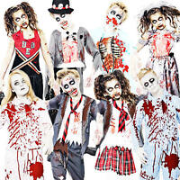 Zombie Kids + Blood Halloween Fancy Dress Party Boys Girls Childrens Costume