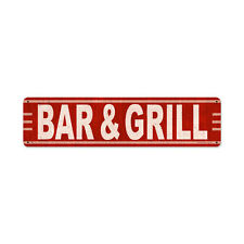 Retro Bar and Grill Rustic Red Pub Food Restaurant Tin Metal Steel Sign 20x5