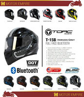 TORC T-15B Full Face Motorcycle Scooter Helmet Bluetooth DOT ECE Black Grey