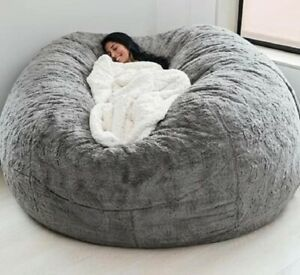 7ft Giant Fur Bean Bag Cover Sofa Bed Cover Living Room Furniture Big Round New