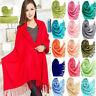 Classic WRAP Women Soft SILK NEW Stole SHAWL Solid Cashmere PASHMINA Wool Scarf